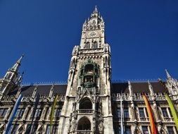 clock tower of town hall at sky, germany, munich