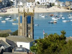st ives steeple, beach at background, uk, cornwall