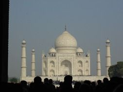 Taj Mahal is a mosque mausoleum located in Agra, India, on the banks of the Jamna River
