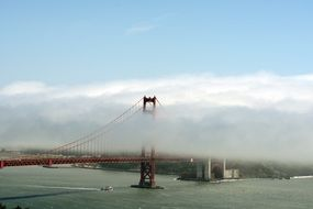 golden gate bridge in fog clouds