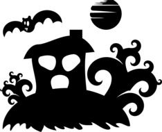 Black silhouette of a haunted house on a hill