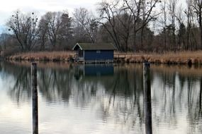 boat house in the fall