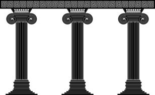 black and white drawing of greek columns