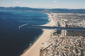 top view of the marina del rey coast in california