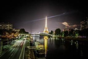 paris eiffel tower light night view seine