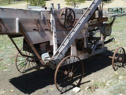 Old wooden equipment in Elizabeth town new mexico