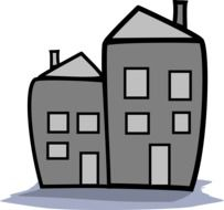 Two grey houses clipart