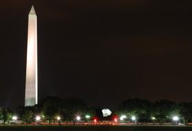 luminous tower in washington at night