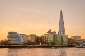 the shard in skyline of city at evening, uk, england, london