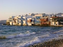 panorama of a small village on the shores of the Mediterranean Sea in Greece