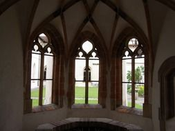 arched windows in the building