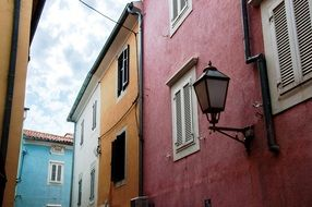old bright painted buildings, croatia, istria