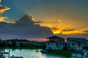 florida beach canal sunset nature