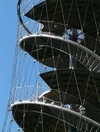 Spiral metal stairs tower