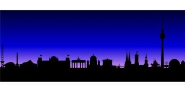 historical buildings and landmarks of berlin, silhouetes, drawing