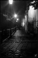night street with lamps, black and white