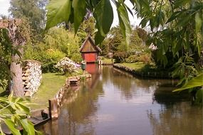 river boat house in Spreewald, Germany