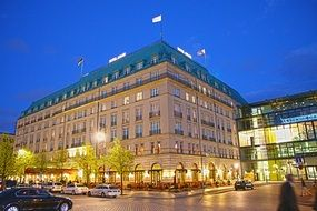 Building of hotel Adlon in Berlin in the evening