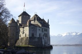 medieval castle in Montreux, Switzerland