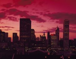 burgundy sunset in Chicago
