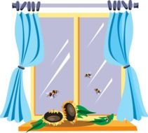 Illustration of curtains on a window
