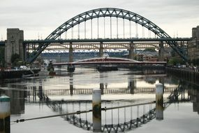 mirror reflection on the surface of the water Bridge over Tyne in Newcastle, England