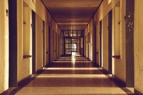 Very long corridor in a building
