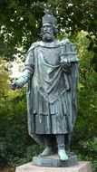 statue of emperor charles the great at greenery, germany, hamburg