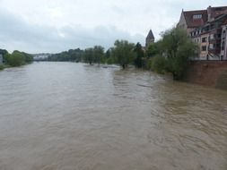 rainy weather and high water of danube ulm