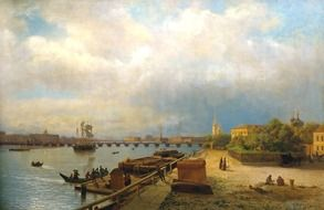 Harbor in St. Petersburg as a painting of a lev lagorio