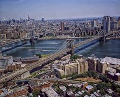 panorama of bridges in manhattan