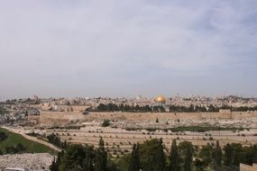 aerial view of the holy city of Jerusalem
