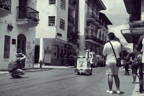 black and white photo of street panorama