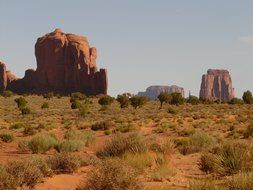 rocky towers in desert, usa, utah, Monument Valley