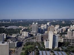 Cityscape of the Houston with aerial view