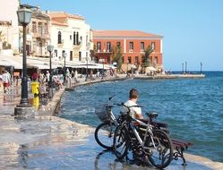 old town at seashore, greece, crete, chania