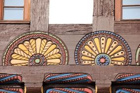 decorated wooden facade of a house