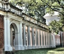 white historical colonnade