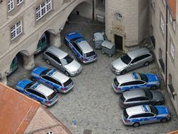 top view on police cars