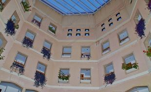 residential building windows with flowers