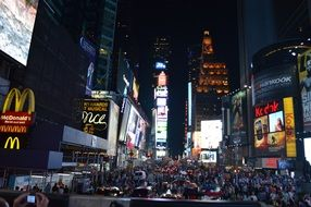 time square new york city night view