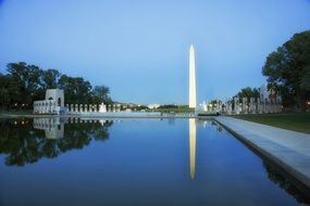 twilight over WWII memorial in washington