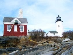 Lighthouse and building in Maine