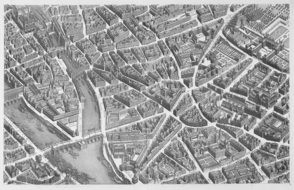 Black and white perspective of Paris, 1739