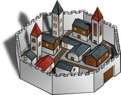 city wall buildings drawing