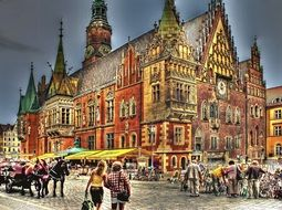 drawing of the city hall and people near it