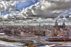 A picturesque landscape of the historic center of Amsterdam