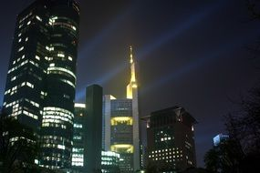 city lamps skyscrapers
