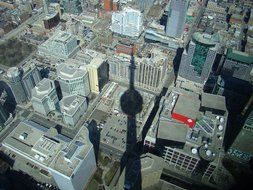 Shadow of the CN Tower on a panorama of Toronto, Canada