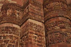 carved facade of a temple in india